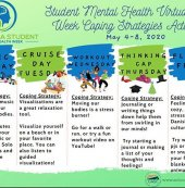 Welcome to Mental Health Awareness week!  During challenging times it is important to use healthy coping strategies. Try each one of the strategies listed and see which one is the best fit for you! #wemissourstudents