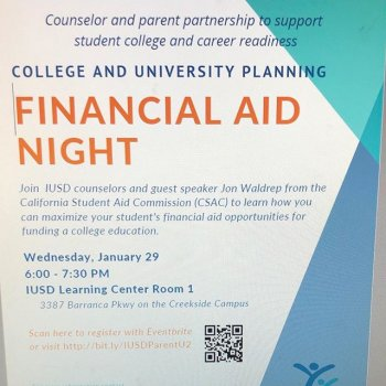 Please join other IUSD families for Parent University on Jan 29 @ The Learning Center, right on the Creekside Education Center campus.