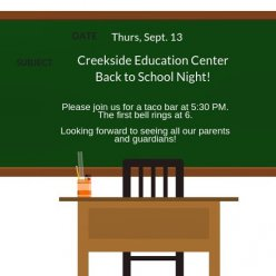 Looking forward to sharing all the great things happening at the Creekside Education Center with our families!