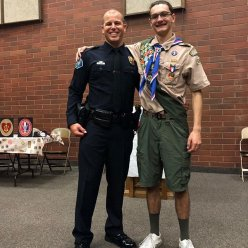 Congratulations to former Creekside superstar Dimitrios on earning his Eagle Scout rank. And he honored our very own SRO Clay Rinker as someone having a positive impact on him and his future. So proud of both!  @irvinepolice @irvine_unified